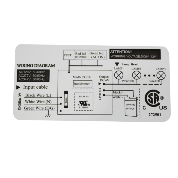 ES2-Series LED Emergency Lighting Unit label