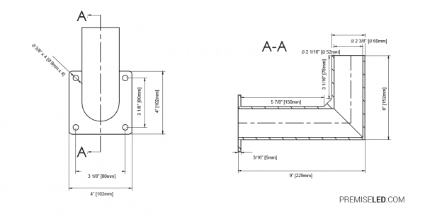 "Premise 9"" Right Angle Tenon Wall Bracket Dimensions"